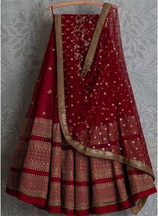 Decent Red Color Party Wear Designer Wedding Wear Lehenga Choli