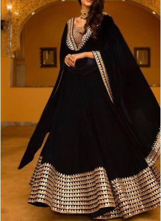 Purchase Black Color Wedding Wear Designer Georgette Base Lehenga Choli