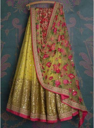 Shop Yellow Color Georgette Base Wedding Wear Designer Lehenga Choli