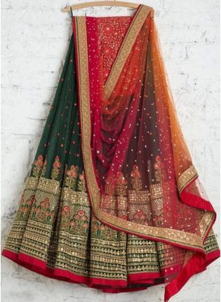 Shop Dark Green Color Wedding Wear Designer Georgette Base Lehenga Choli