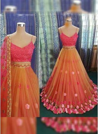 Iconic Orange Color Party Wear Designer Soft Net Base Fared Lehenga Choli