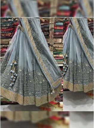 Splendid Grey Color Wedding Wear Designer Net Base Lehenga Choli