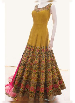 Buy Mustared Yellow Color Wedding Wear Multi Embroidery Work Gown