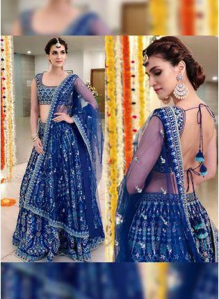 Purchase Blue Color Wedding Wear Heavy Thred Work Desiger Lehenga Choli
