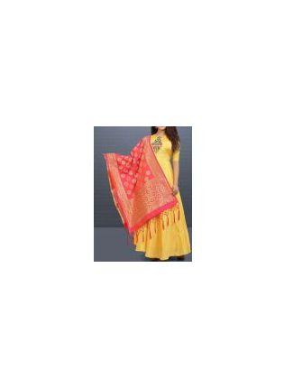 Shop Lemon Yellow Color Wedding Wear Designer Silk Base Gown