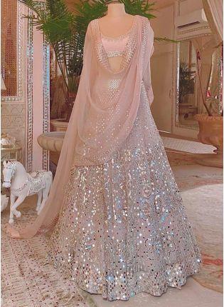 The Glamorous Peach Color Wedding Wear Lehenga Choli