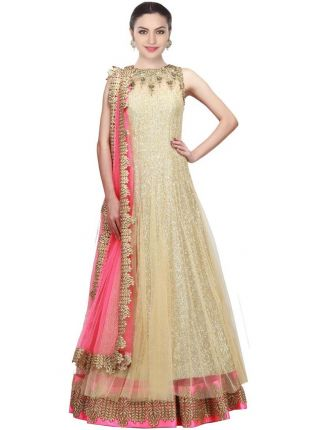Iconic Golden Designer Embroidred Gown For Woman