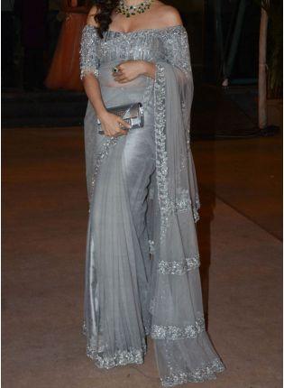 Iconic Grey Soft Net Fabric And Zari Work Embroidered Saree