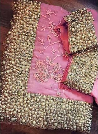 Affordable Blush Pink Color Party Wear Designer Saree With Heavy Embroidery Work
