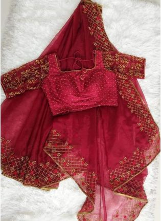 Decent Dark Maroon Color Party Wear Soft Net Base Heavy Embroidery Work Saree