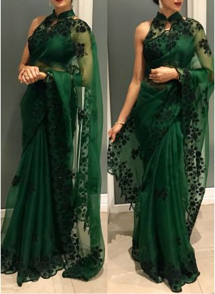 Purchase Remarkable Hunter Green Color Organza Silk Base Saree