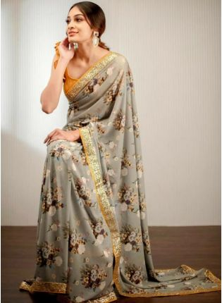 Decent Stunning Grey Colored Digital Printed Saree With Zari And Sequin Work