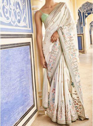 Buy White Zari Work And Silk Fabric Embroidered Saree