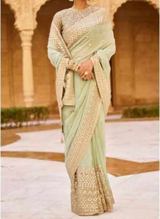 Top Sea Geen Zari And Hand Work Georgette Embroidered Saree