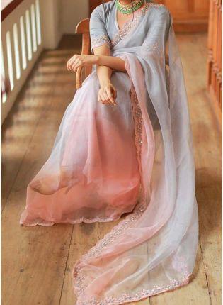 Top Elegant Grey Color Organza Base Designer Embroidered Saree