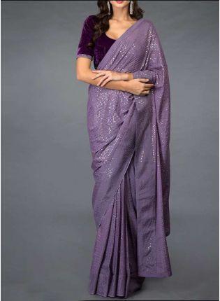 Affordable Stylish Purple Color Georgette Base Designer Party Wear Saree