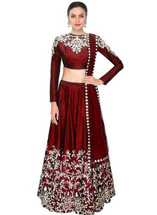 Buy Stylish Maroon Color Party Wear Designer Lehenga Choli