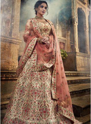 Purchase Exceptional Jute White Color Art Silk Base Lehenga Choli for Wedding
