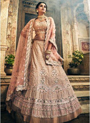 Best Fantastic Rose Taupe Color Panelled Zari Lehenga Choli