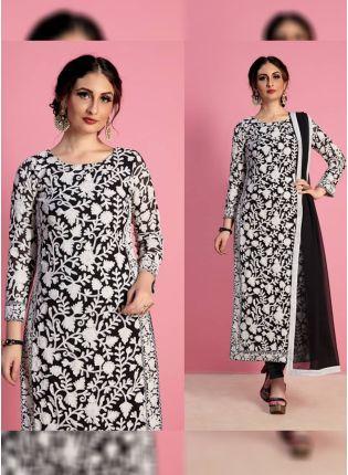 Iconic Black Color Designer Georgette Base Party Wear Salwar Kameez