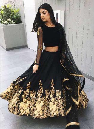 Stylish Designer Black Heavily Embellished Crepe Base Lehenga Choli