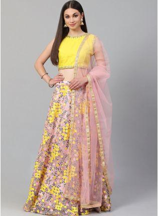 Affordable Baby Pink Heavily Embroidered Floral Motif Resham Lehenga Choli
