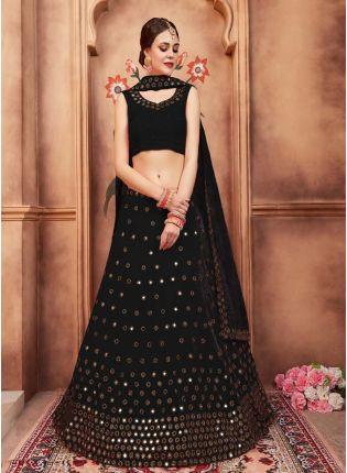 Top Black Color Mirror Work Designer Lehenga Choli