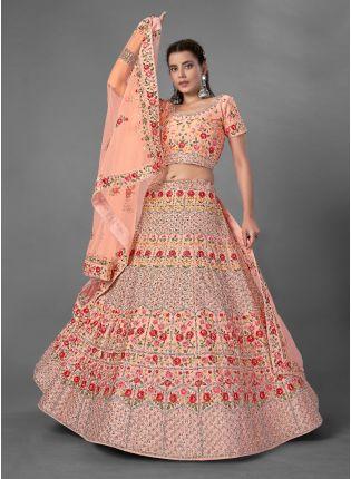 Alluring Peach Color Art Silk Base With Heavy Work Bridal Wear Lehenga Choli