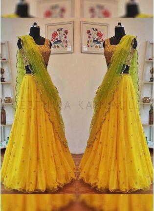 Shop Lemon Yellow Color Party Wear Sequins Work Lehenga Choli