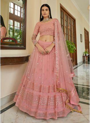 Gorgeous Peach Color Soft Net Base Sequins Base Elegant Lehenga Choli