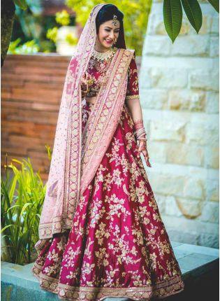 Shop Bridal Lehenga Choli With Heavy Lace Work On Dupatta