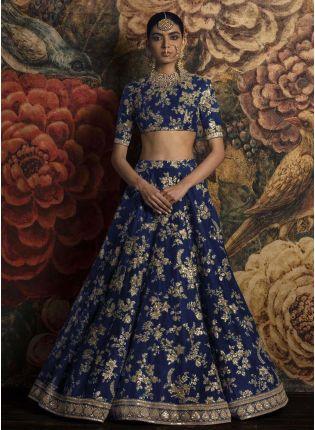 Splendid Applique Work Blue Lehenga Choli Dupatta Set