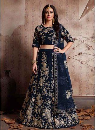 Buy Navy Blue Dori Work Velvet Lehenga Choli And Dupatta Set