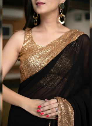 Shop Admirable Black Color Georgette Base Designer Party Wear Saree