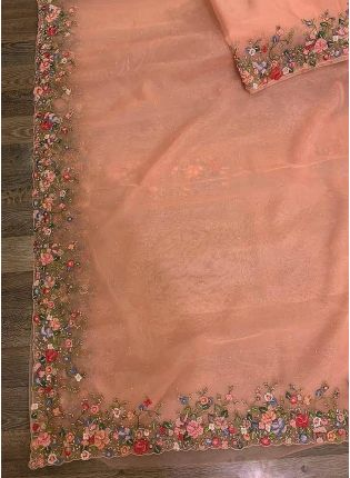Affordable Thrilling Peach Pink Colored Ceremonial Wear Designer Organza Saree