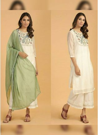 Splendid White Cotton Festive Wear Designer Palazzo Salwar Suit