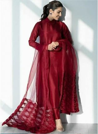 Iconic Marvellous Ruby Red Silk Base Casual Wear Designer Pant Style Suit
