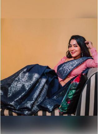 Eye-captivating Navy Blue Color Silk Base Embroidered Saree