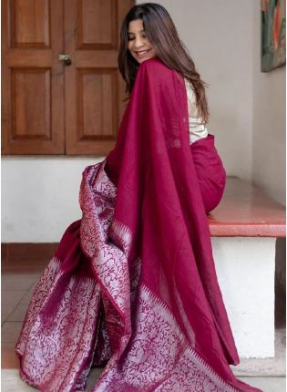 Fascinating Wine Color Silk Base Embroidered Banarasi Saree