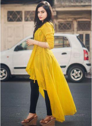 Best Yellow Cotton Casual Wear Designer Kurti