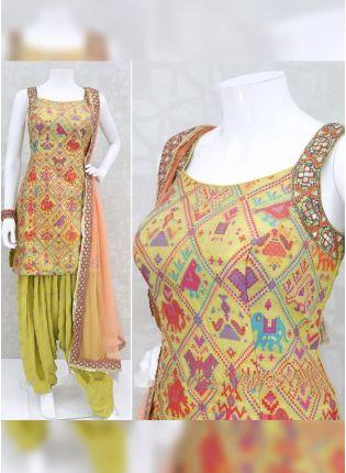 Decent Fashionable Pear Green Rayon Designer Digital Printed Patiala Suit