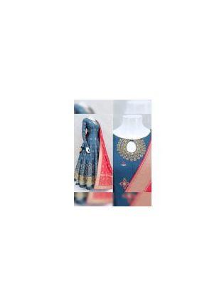 Trendy Majestic Prussian Blue Satin Base Festive Wear Ethnic Designer Gown