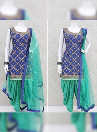Splendid Thrilling Blue Rayon Base Designer Digital Printed Dhoti Style Salwar Suit