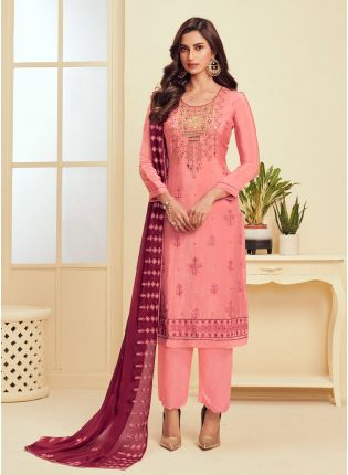 Pleasant Pink Color With Georgette Base Salwar Kameez