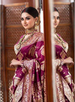 Delightful Wine Color Banarasi Silk Saree