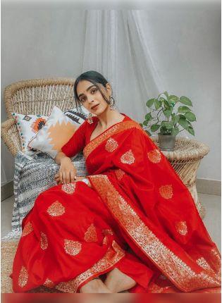 Eye-Catching Red Color Banarasi Silk Base Wedding Wear Saree