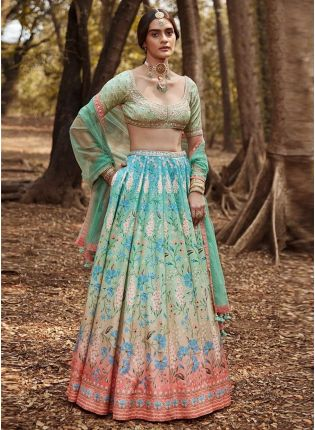 Fabulous Silk Fabric Turquoise Color Crop Top Lehenga Choli