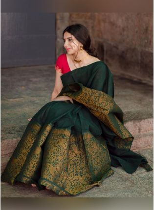 Exquisite Bottle Green Color Silk Base Banarasi Saree