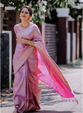 Delightful Pink Color Silk Base Banarasi Saree