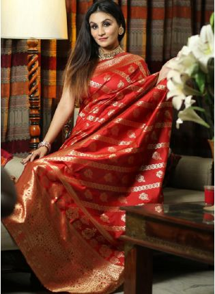 Tremendous Red Color Silk Base Embroidered Saree